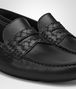 BOTTEGA VENETA WAVE DRIVER IN NERO CALF, INTRECCIATO DETAILS Mocassin or Slipper Man ap