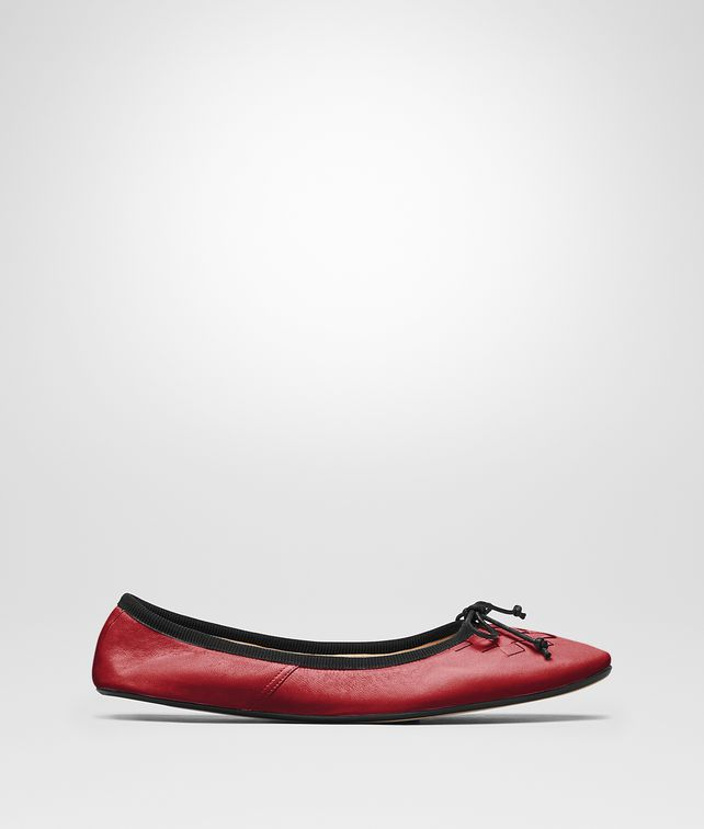 BOTTEGA VENETA CHINA RED NAPPA LEATHER PICNIC BALLERINA Flat D fp