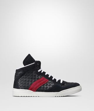 SNEAKER IN DARK NAVY INTRECCIATO CALF LEATHER, CHINA RED SUEDE
