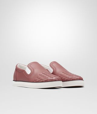 SAIL SNEAKER IN DUSTY ROSE CALF, INTRECCIATO DETAILS