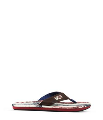 NAPAPIJRI TOLEDO LEATHER MAN FLIP FLOPS,BROWN