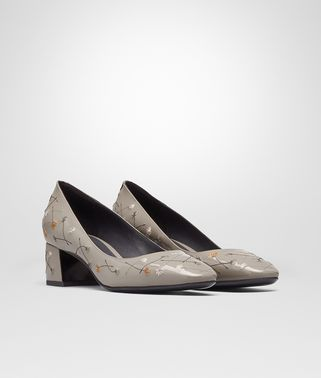 CHERBOURG PUMPS IN FUMÉ EMBROIDERED PATENT CALF LEATHER