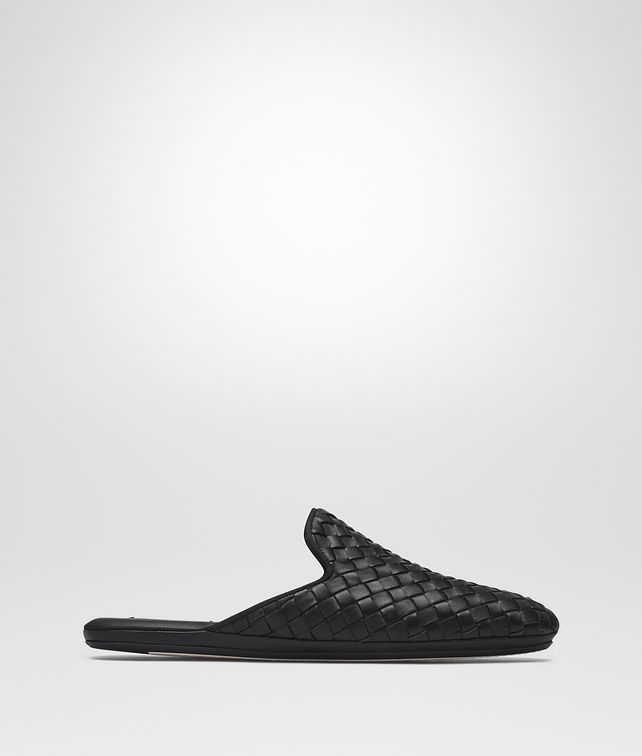 BOTTEGA VENETA FIANDRA SLIPPER IN NERO INTRECCIATO NAPPA Flat D fp