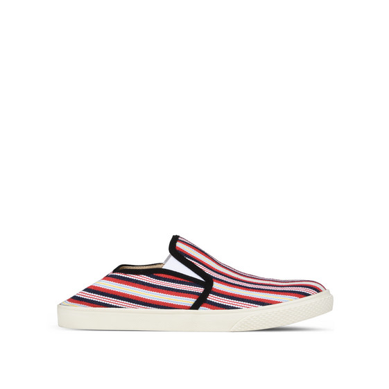 Striped Canvas Slip-on Sneakers