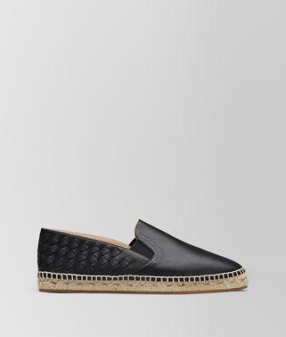 黑色编织小羊皮麻底鞋