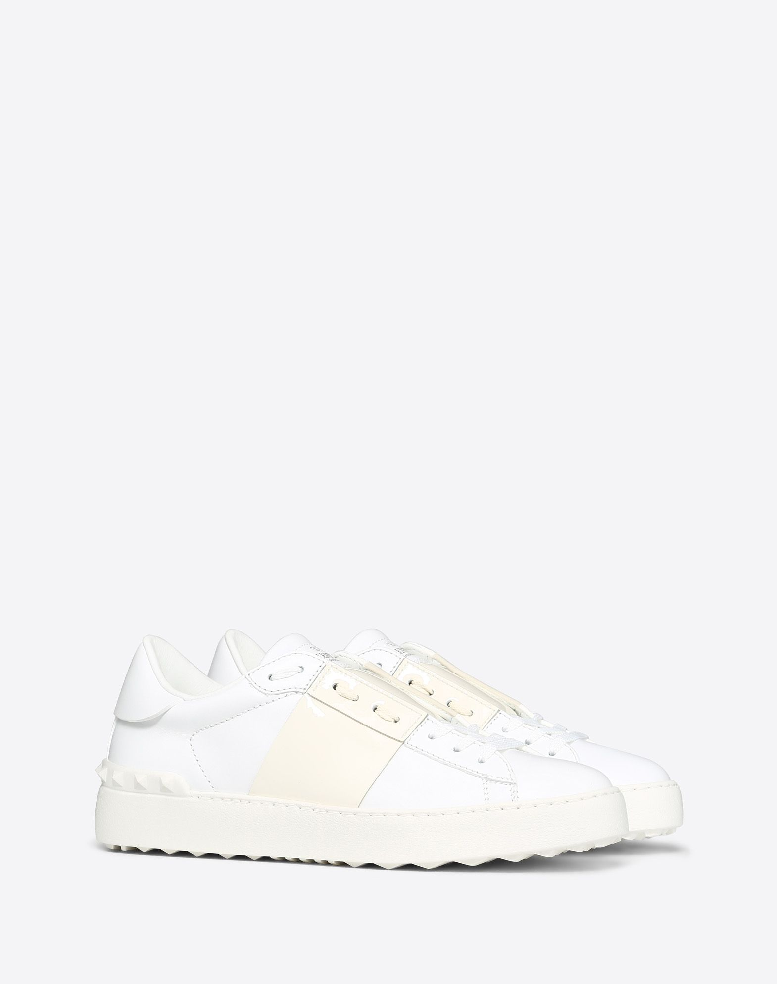 VALENTINO Logo Round toeline Laces Rubber sole Varnished effect Leather lining Two-tone  11151212vl