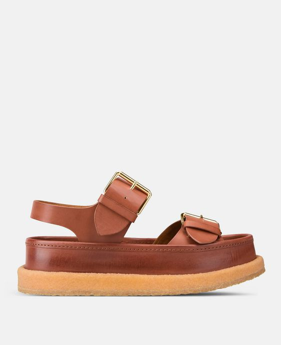 Sandali Color Caramello con Fibbie