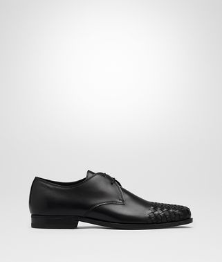 LUTON LACE UP IN NERO CALF, INTRECCIATO DETAILS