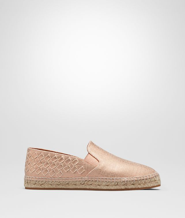 BOTTEGA VENETA GALA ESPADRILLES IN ROSE GOLD CANVAS, INTRECCIATO DETAILS Flat D fp