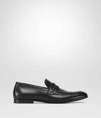 ANWICK MOCCASIN IN NERO CALF LEATHER, INTRECCIATO DETAILS