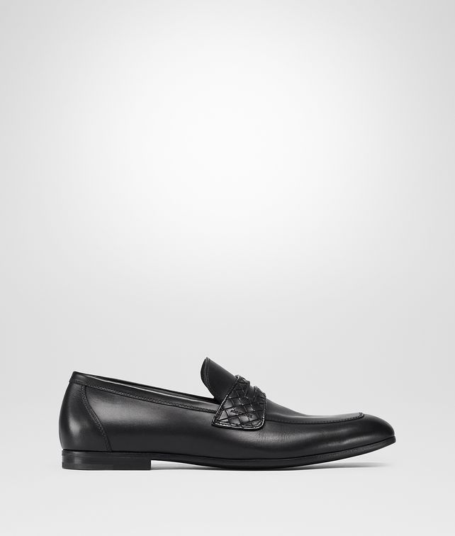 BOTTEGA VENETA ANWICK MOCASSIN IN NERO CALF, INTRECCIATO DETAILS Mocassin or Slipper U fp