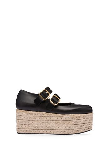 Marni Ballerina wedge in calfskin and jute Woman