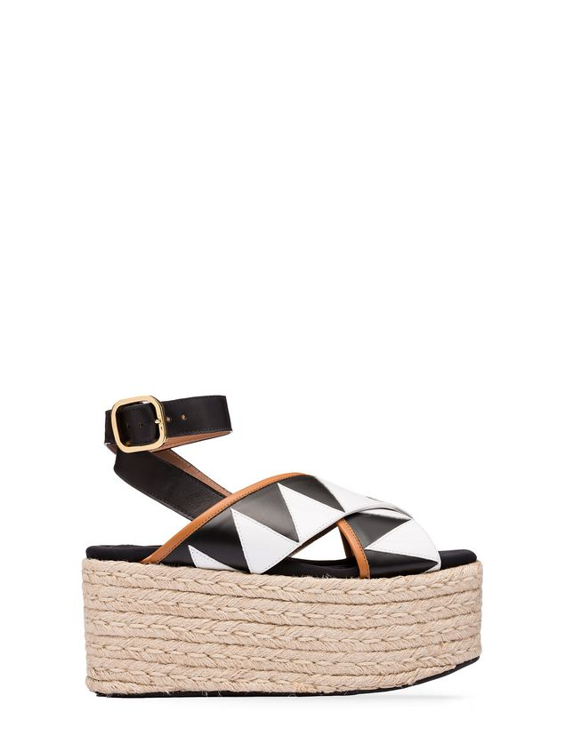 578fa722fa73 Marni Tribal wedge in calfskin and jute Woman - 1 ...