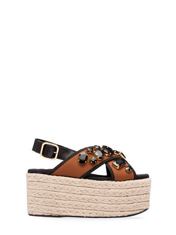 Marni Embroidered wedge in techno fabric Woman