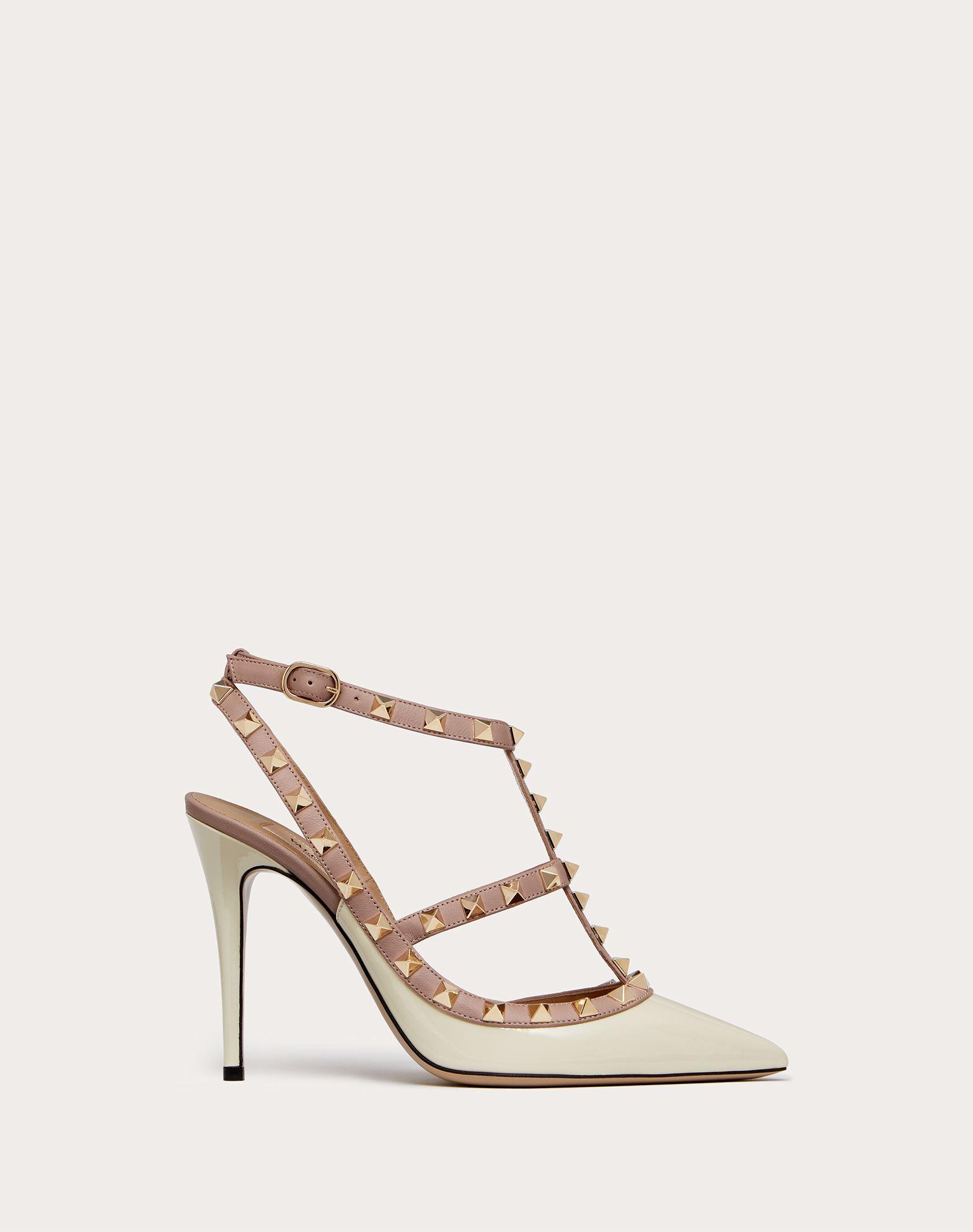 VALENTINO 双色图案 细高跟 漆面效果 铆钉 腰带扣 窄形鞋头 真皮鞋底   11166492ps