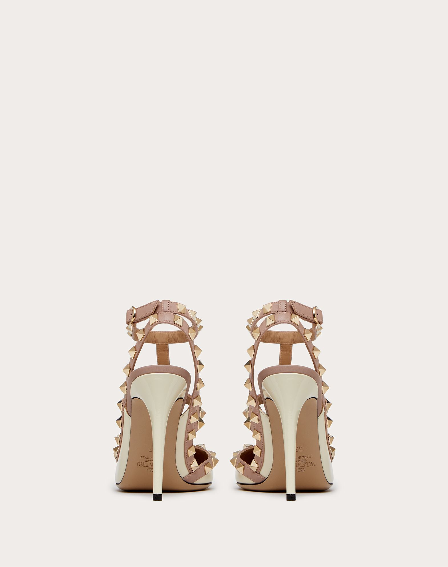 VALENTINO Two-tone Spike heel Varnished effect Studs Buckle Narrow toeline Leather sole  11166492ps