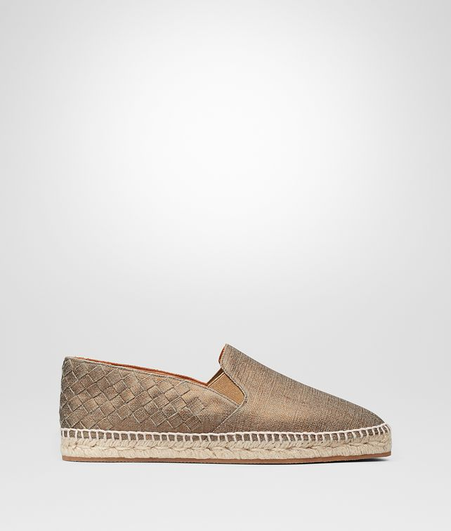 BOTTEGA VENETA GALA ESPADRILLES IN BRONZE CANVAS, INTRECCIATO DETAILS Flat Woman fp