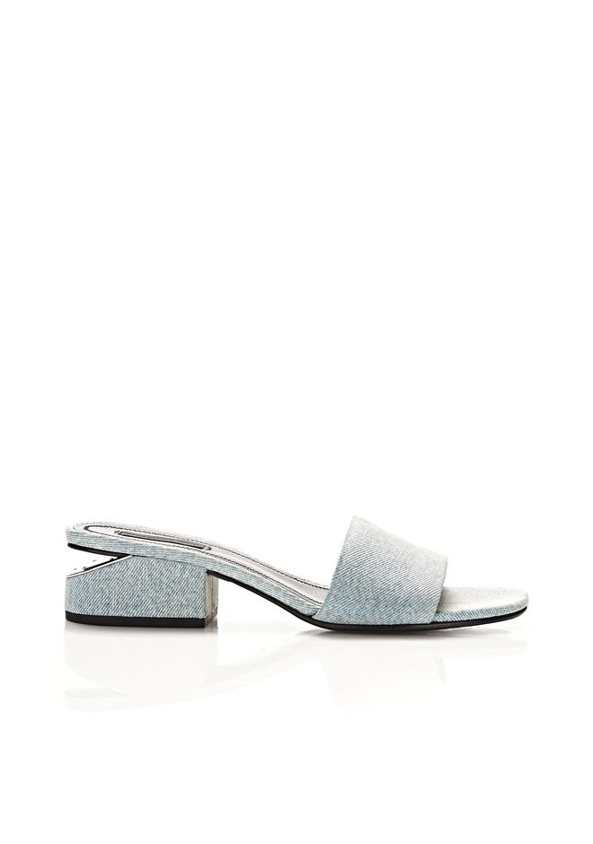 ALEXANDER WANG FLATS LOU DENIM SANDAL WITH RHODIUM
