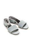 ALEXANDER WANG LOU DENIM SANDAL WITH RHODIUM  FLATS Adult 8_n_r