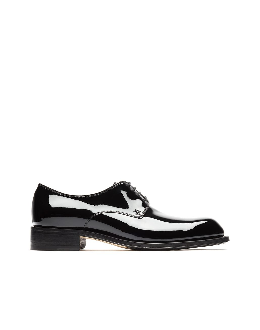 BRIONI Black Patent Leather Derby Derbies Man f