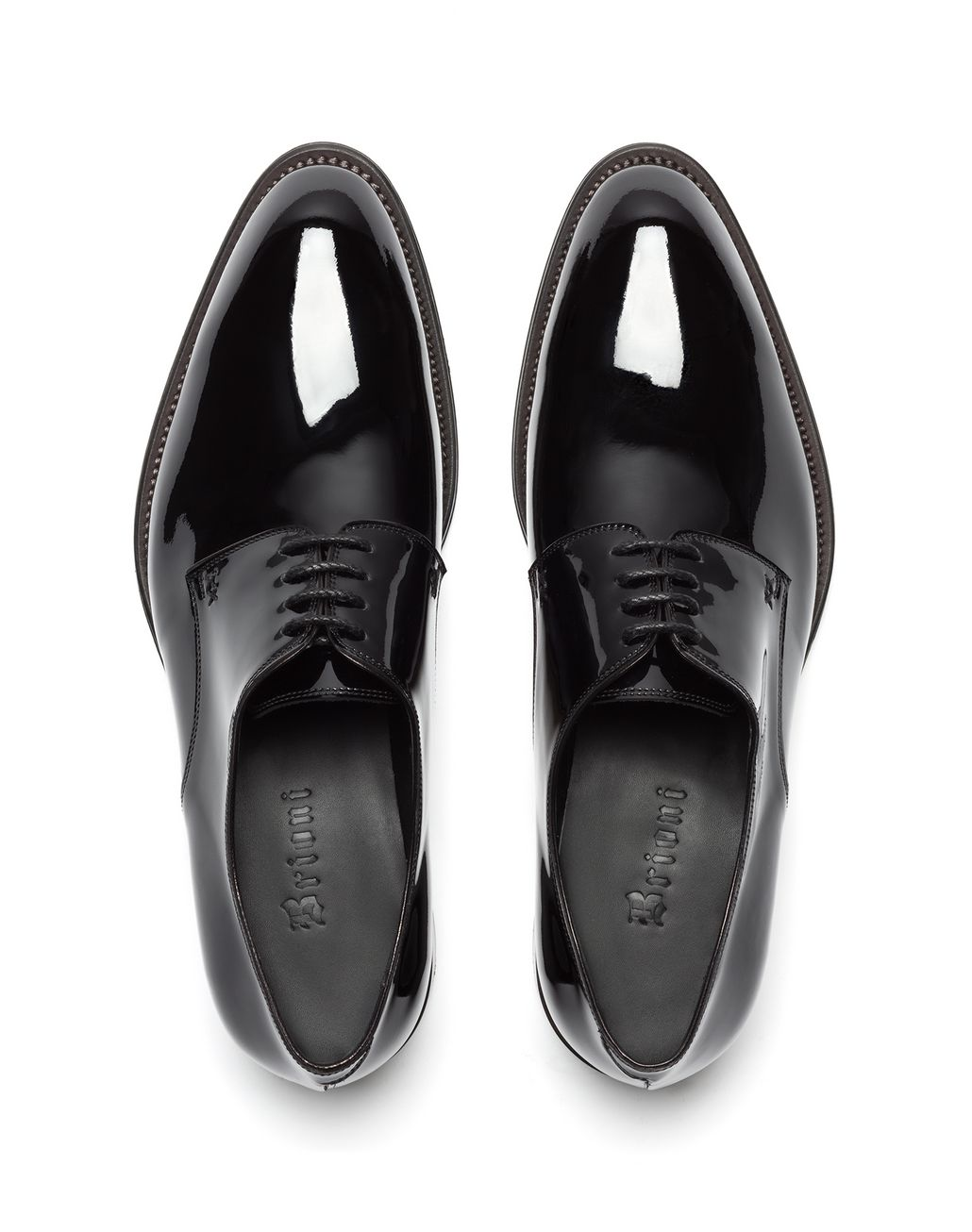 BRIONI Black Patent Leather Derby Derbies Man r