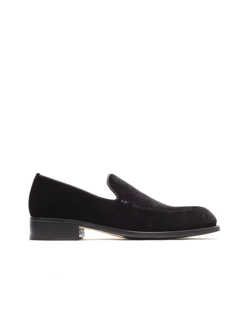 BRIONI Black Velvet Slipper Loafer Loafers Man f