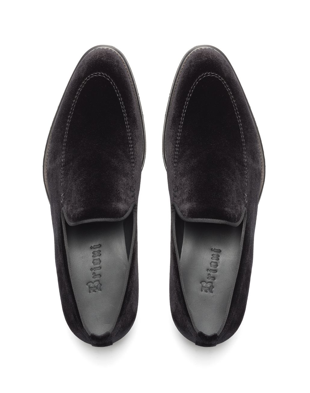 BRIONI Black Velvet Slipper Loafer Loafers Man r