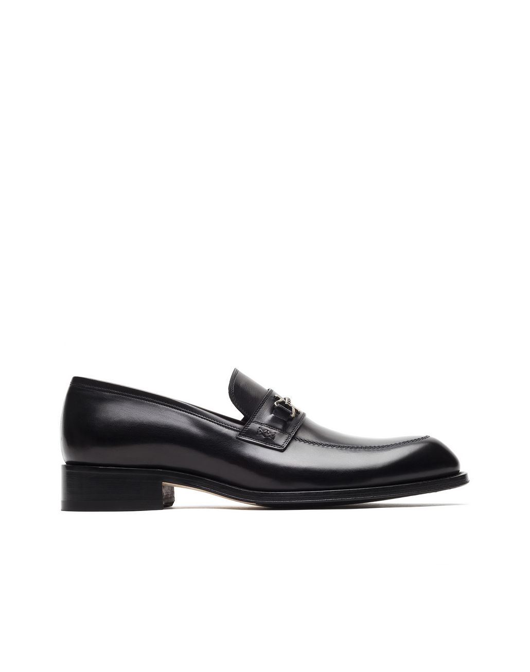 BRIONI Black Loafer with Metal Detail Loafers Man f