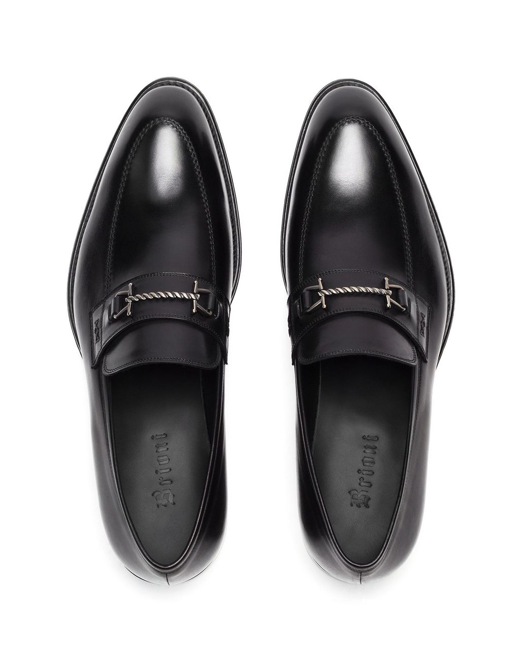 BRIONI Black Loafer with Metal Detail Loafers [*** pickupInStoreShippingNotGuaranteed_info ***] r