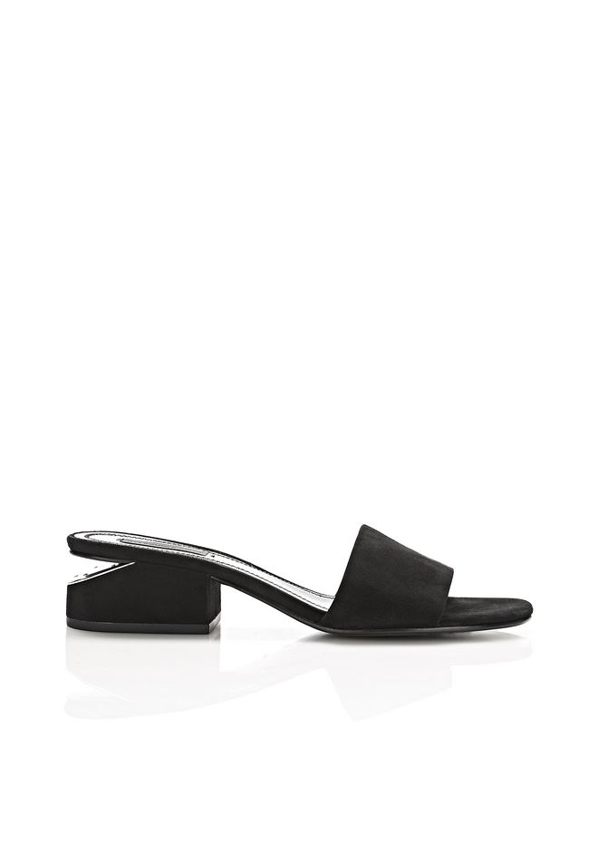 ALEXANDER WANG LOU SUEDE SANDAL WITH RHODIUM FLATS Adult 12_n_f