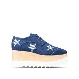 STELLA McCARTNEY Wedges D Denim Elyse Striped Star Shoes f