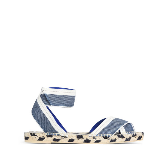 Denim Raffia Espadrille Sandals