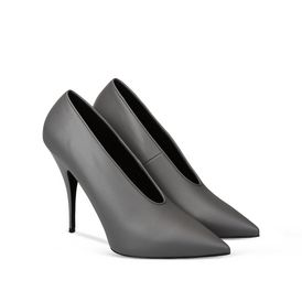 Steel Gray Pointed Pumps