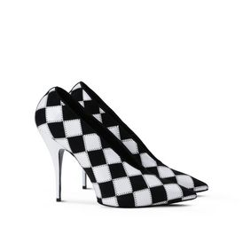 Black and White Checked Pointed Pumps