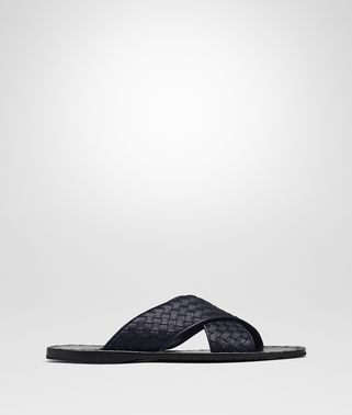 DARK NAVY INTRECCIATO CALF ESHER SANDALS