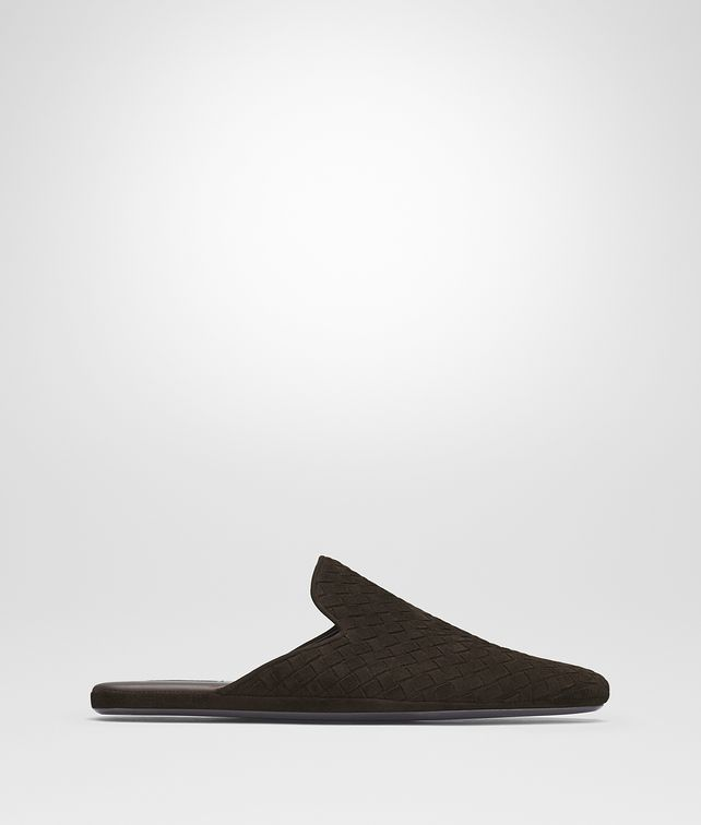 BOTTEGA VENETA FIANDRA SLIPPER IN ESPRESSO INTRECCIATO SUEDE Mocassin or Slipper Man fp