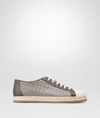 SAIL SNEAKER IN MIST STEEL FUMÉ CALF LEATHER, INTRECCIATO DETAILS
