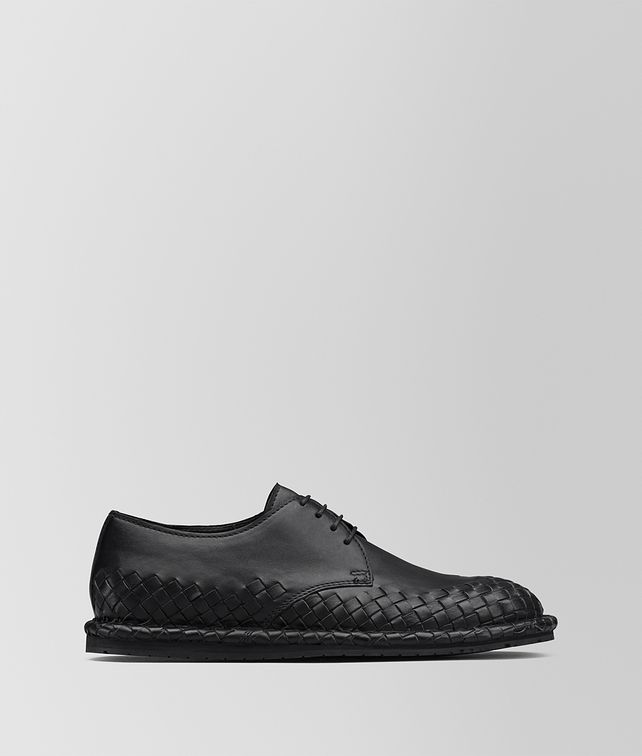 BOTTEGA VENETA IAC LACE UP IN NERO CALF, INTRECCIATO DETAILS Lace Up Man fp