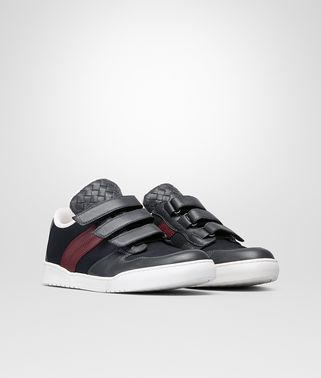 HEEZE SNEAKER IN ARDOISE BAROLO CALF DARK NAVY TECHNICAL CANVAS, INTRECCIATO DETAILS