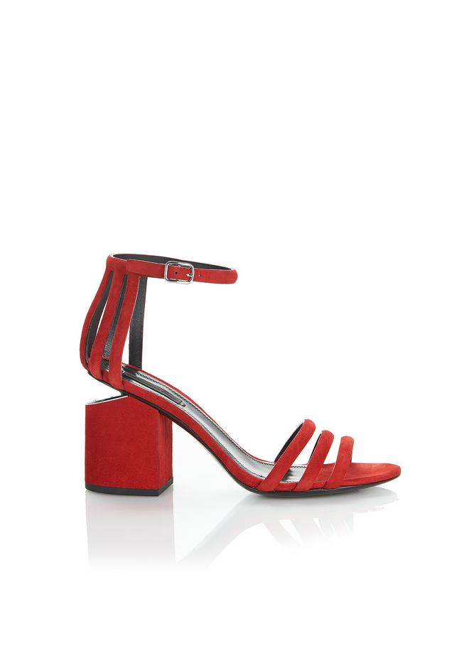 ALEXANDER WANG new-arrivals-shoes-woman CAGE ABBY SUEDE SANDAL WITH RHODIUM