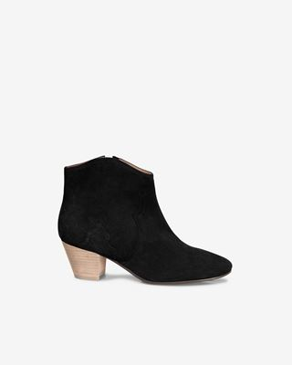 Dicker Leather mid-heel ankle boots with stretch panels