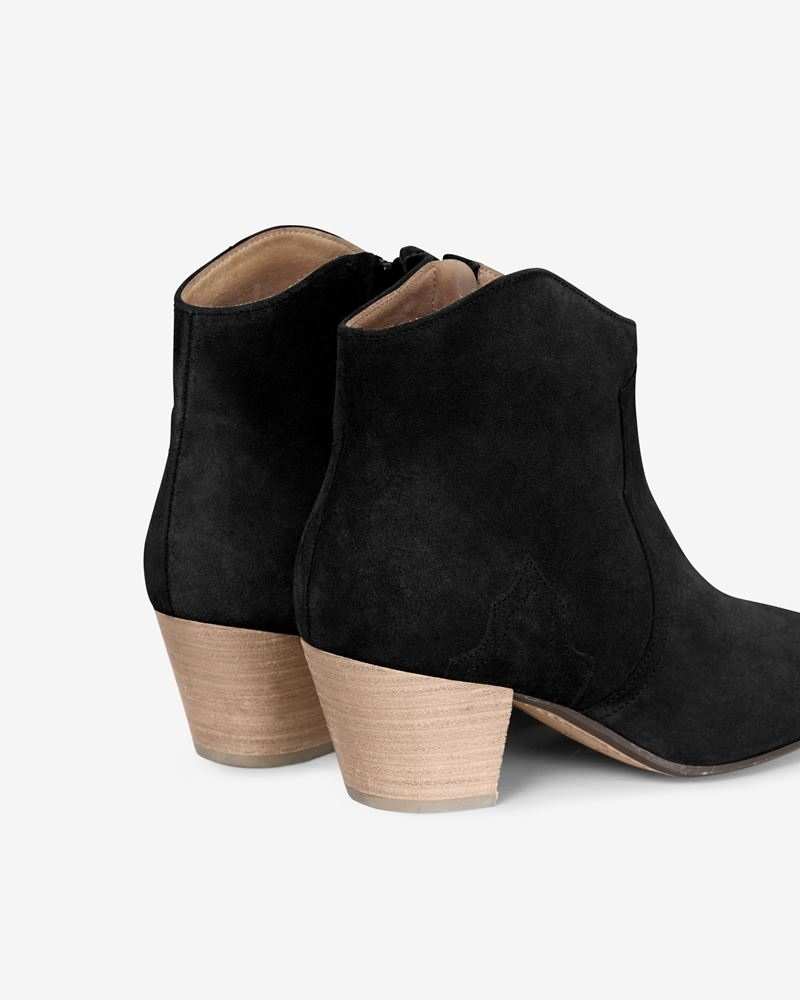 Dicker Leather mid heel ankle boots with stretch panels ISABEL MARANT