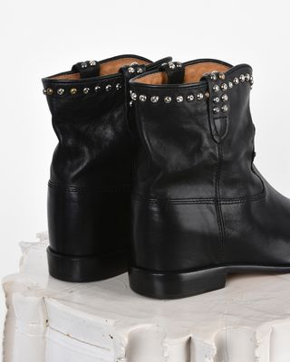 ISABEL MARANT BOOTS D Cluster Studded leather wedge heel ankle boots d