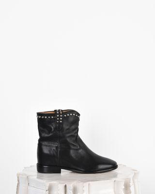 Cluster Studded leather wedge heel ankle boots