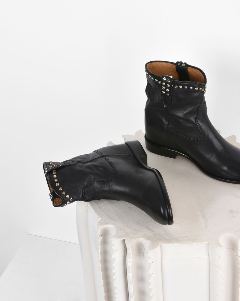 Cluster Studded leather wedge heel ankle boots ISABEL MARANT