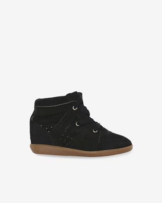 Bobby Suede wedge heel lace-up trainers