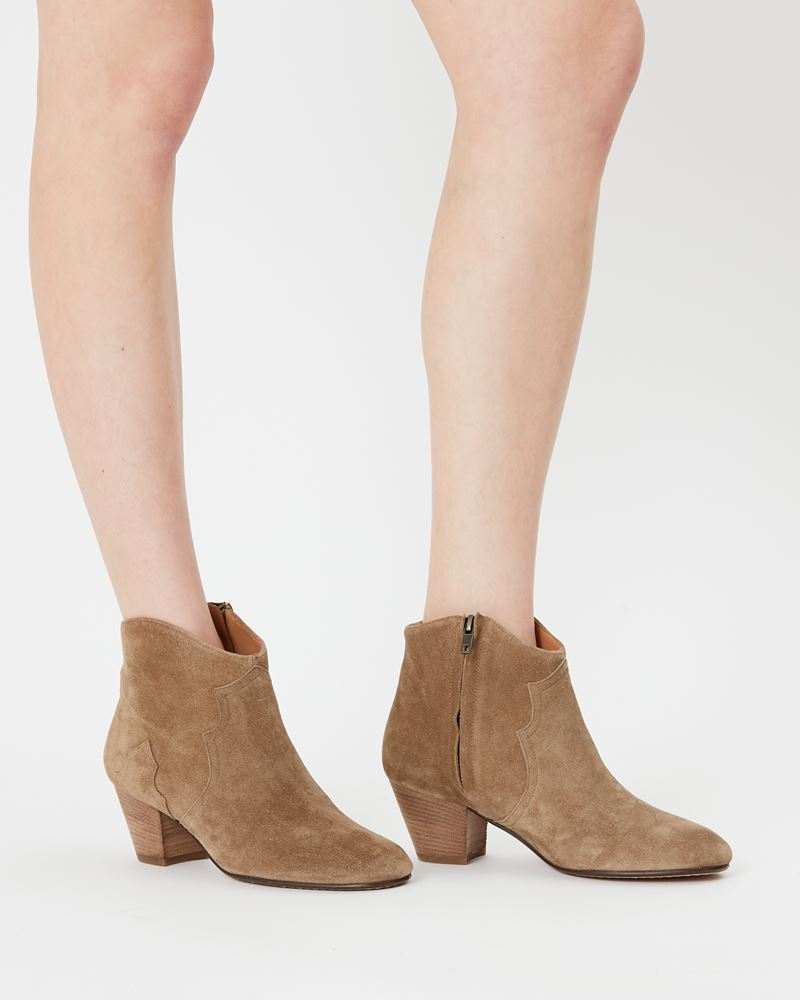 Dicker Leather mid-heel ankle boots with stretch panels ISABEL MARANT ÉTOILE