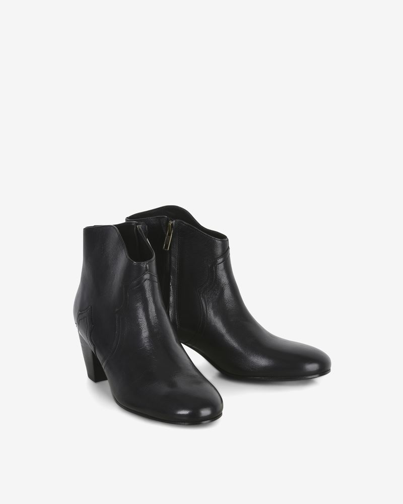 Dicker Leather mid-heel ankle boots ISABEL MARANT