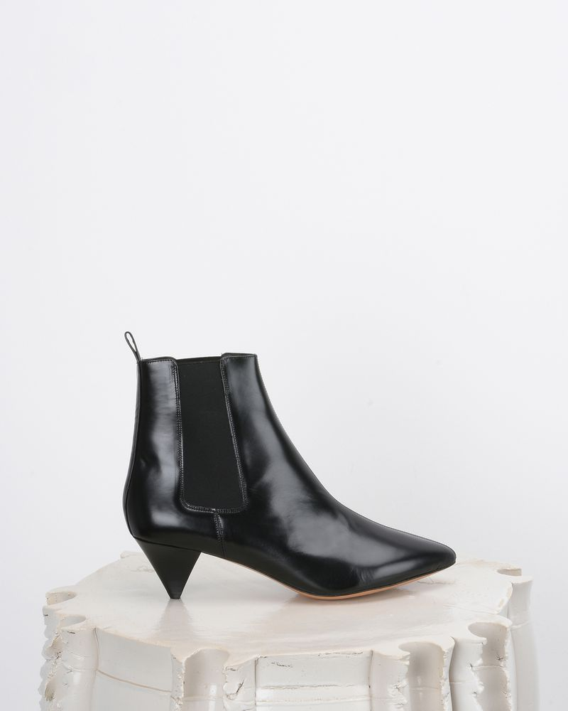 Dawell Leather mid heel ankle boots with stretch panels ISABEL MARANT