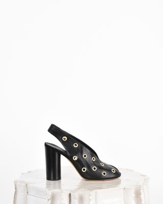 Meirid Eyelet detail leather high heel mules